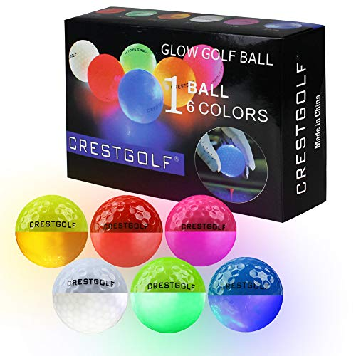 Crestgolf 光るゴルフボール新型人気ごるふぼーる6個入り夜間発光可能マルチカラー