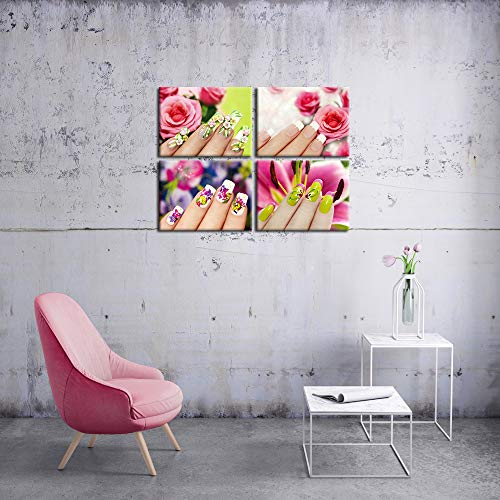 iKNOW FOTO Modern Fashion Women Art Print Set of 4 Beautyand Nail Painting Canvas Prints Posters with F   rame Hand Spa Makeup and Manicure Picture Wall Pictures for Beauty Salon Walls Decor 12x16inchx4