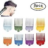 8 Guide des Tailles Ensemble Peigne Pièces de Rechange pour Tondeuse Couleur Arc-en-Ciel Accessoires de Coupe de Cheveux