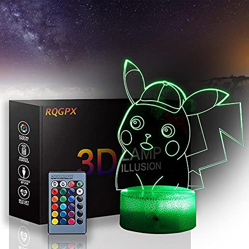 Pokemon 3D LED noche luz 16 colores cambio automático interruptor táctil decoración escritorio