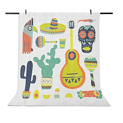 7x10 FT Vinyl Photography Backdrop,Symbols from Mexico Guitar Face Aztec Mask Tequila Skull Musical Instruments Taco Background for Child Baby Shower Photo Studio Prop Photobooth Photoshoot