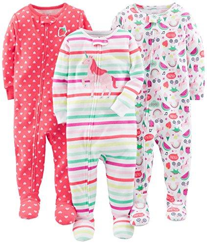 Simple Joys by Carter's Baby und Kleinkind Mädchen Schlafanzug mit Fuß, Baumwolle, 3er-Pack ,Rainbow,strawberry,multistripe Unicorn ,18 Months