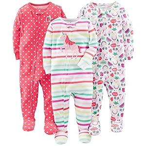 Simple Joys by Carter's Pijama de algodón con pies Ajustados Bebé-Niñas, Pack de 3