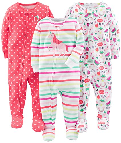 Simple Joys by Carter's Baby Girls' 3-Pack Snug Fit Footed Cotton Pajamas, Rainbow,Strawberry,Multistripe Unicorn, 18 Months