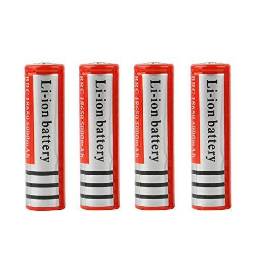 4Pcs 18650 Battery 5000mAh Li-ion 3.7V Rechargeable Batteries for LED Flashlight Red,Black