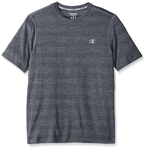 Champion Men's Double Dry Heather T-Shirt Printed, Concrete Heather Stripe, Small