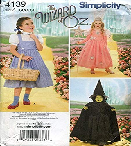 Simplicity 4139 'Wizard of Oz' Dorothy, Wicked Witch and Glinda Good Witch Halloween Costume Sewing Pattern for Children…