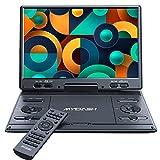 MYDASH14.1'Lecteur DVD portable pour voiture avec grand écran HD pivotant de 12,5'design exclusif des boutons,support fente pour carte SD et port USB, fonction de synchronisation du projecteur TV,Noir