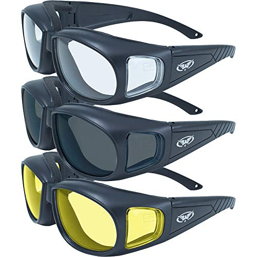 Three (3) Pairs Motorcycle Safety Sunglasses Fits Over Glasses Smoke, Clear, and Yellow Day & Night & Gun Range! Usage Meets ANSI Z87.1 Standards