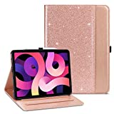 ULAK Compatible with iPad Air 4 Case 2020 with Pencil Holder, Premium PU Leather Multi-Angle Viewing Folio Smart Stand Cover for iPad Air 10.9 inch 4th Generation, Auto Wake/Sleep (Rose Gold)