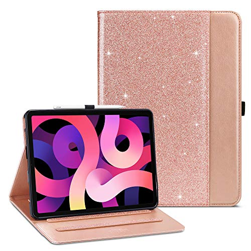 ULAK Case Compatible with iPad Air 4, iPad Air 4th Case Premium PU Leather Cover with Pen Holder & Card Holder, Auto Sleep/Wake Up Protection Smart Cover for iPad Air 4th 10.9 inch 2020 - Rose Gold