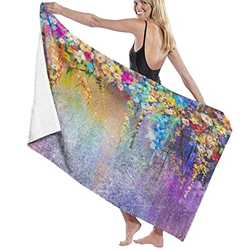 KAYLRR Toallas de baño,Abstract Herbs Weeds Blossoms Ivy Back with Florets Shrubs Design,Super Soft,High Absorbent,Large Towel Blanket for Bathroom,Beach or Swimming Pool,52' x 32'