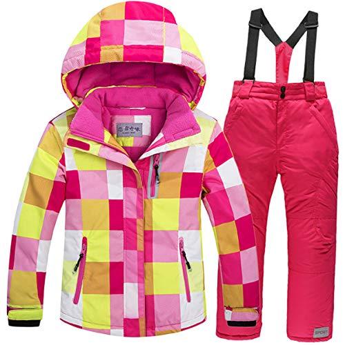 JELEUON Girls Boys Kids Winter Warm Outdoor Mountain Waterproof Windproof Snowboarding Skiing Jackets Snow Ski Bib Pants Overalls Set US 8
