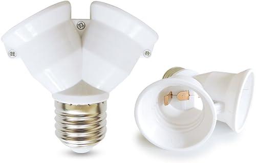 AspenTek Fireproof Material E27 to 2 E27 Lamp Holder Converter Socket Led Light Bulb Base Type E26 to 2 E26 Splitter ...