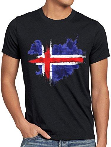 CottonCloud Flagge Island Herren T-Shirt Fußball Sport Iceland WM EM Fahne, Größe:M, Farbe:Schwarz