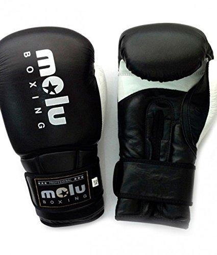 MoluBoxing - Guante Piel ultravox, 12 onzas, Color: Negro