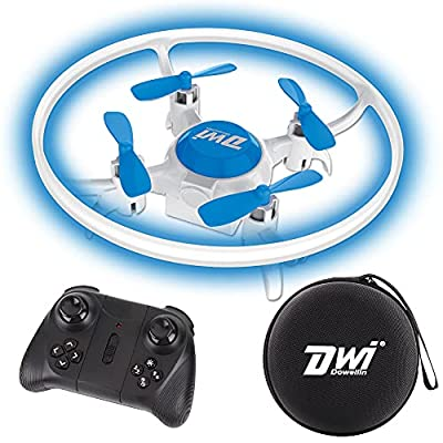 Dwi Dowellin Mini Drone for Kids Crash Proof LED Night Lights One Key Take Off Landing Spin Flips RC Remote Control Small Flying Toys Drones for Beginners Boys and Girls Adults Nano Quadcopter