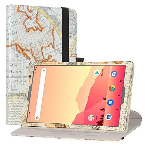 LiuShan Rotary Funda para MatrixPad S20,  Folio Soporte PU Cuero con Funda Caso para Vankyo MatrixPad S20 10 Inch Tablet/Yuntab D107 Tablet(Not Fit MatrixPad S30), Map White