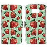スマホケース 手帳型 カードタイプ Galaxy S8 (SC-02J・SCV36) [ストロベリー・グリーン] 苺 s……