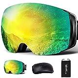 スキーゴーグル 2層磁気レンズ フレームレス メガネ対応 ダブルレンズ 曇り止め 超180°広い視界 球面 Wolfyok スノーゴーグル スノーボードゴーグル 99 UVカット 3層スポンジ 眼鏡対応 ヘルメット対応 レディース メンズ 全天候対応 通気/防風/防雪/防塵/軽量/耐衝撃 山登り/スキー/アウトドアスポーツに全面適用 頑丈な収納ケース 日本語説明書付き ゴールド