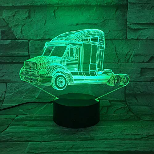 hqhqhq Heavy Trucks 3D Night Light Lámpara de Coche USB 7 Colores Que cambian el Interruptor táctil LED Lámpara de Interior para Dormitorio Lámpara de decoración de Fiesta Kid Day Gifts 111