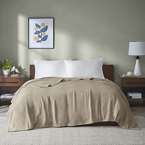 homelux beddings Madison Park Freshspun Basketweave Luxury Cotton Blanket Khaki 66x90 Twin Size Basketweave Premium Soft Cozy 100% Cotton For Bed, Couch or Sofa
