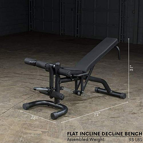 Body-Solid FID46 Adjustable Flat Incline Decline Weight Bench, 600 Lb. Weight Capacity