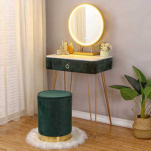 Makeup Table with Mirror and Chair Adjustable Brightness Mirror Modern Bedroom Dressing Tables Marble Dressing Table Gifts for Women Girls