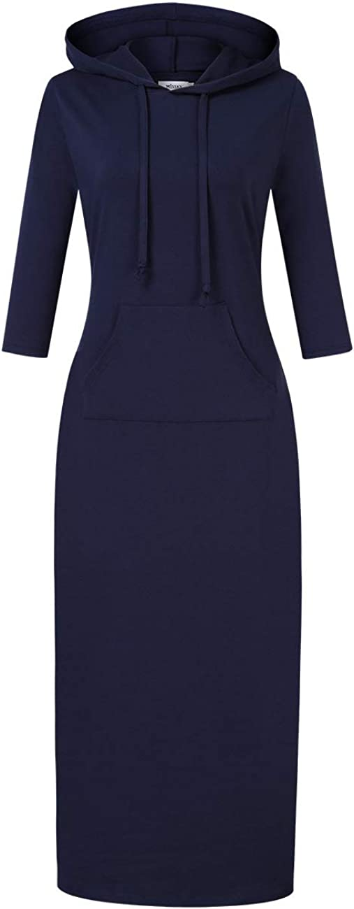 MISSKY Women's Casual Pocket Slim Pullover Maxi Hoodie Dress