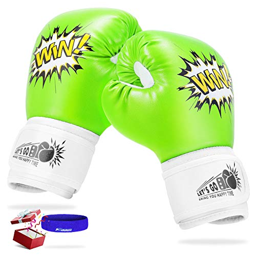 LET'S GO! Kids Boxing Gloves, Toys for 5-12 Years Old Girls and Boys, Kids Youth Toddlers Boxing Gloves and Punching Bag, Kickboxing, Muay Thai, MMA Training Gloves - Best Gifts