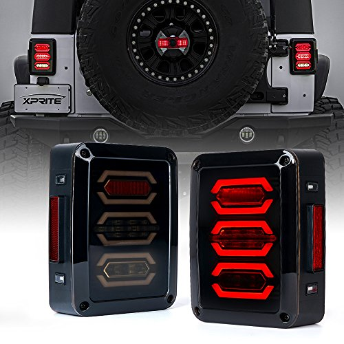 Xprite Led Tail Lights Smoke Lens Red LED Rear Brake Light w/Turn Signal & Back Up Taillight Assembly for 2007-2018 Jeep Wrangler JK JKU - G3 Diamond Series