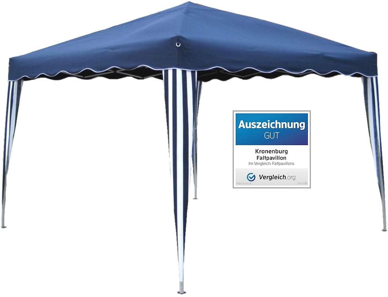 Kronenburg Falt Pavillon Dachma 3 x 3 m Gartenzelt Partyzelt in Blau - Auszeichnung GUT