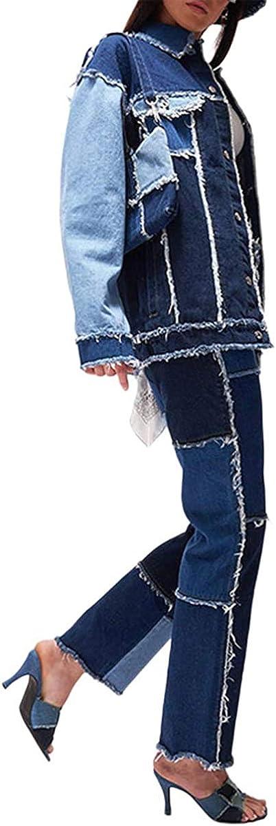 LAYAN-B Pantaloni da donna con vita alta strappati in denim invecchiato