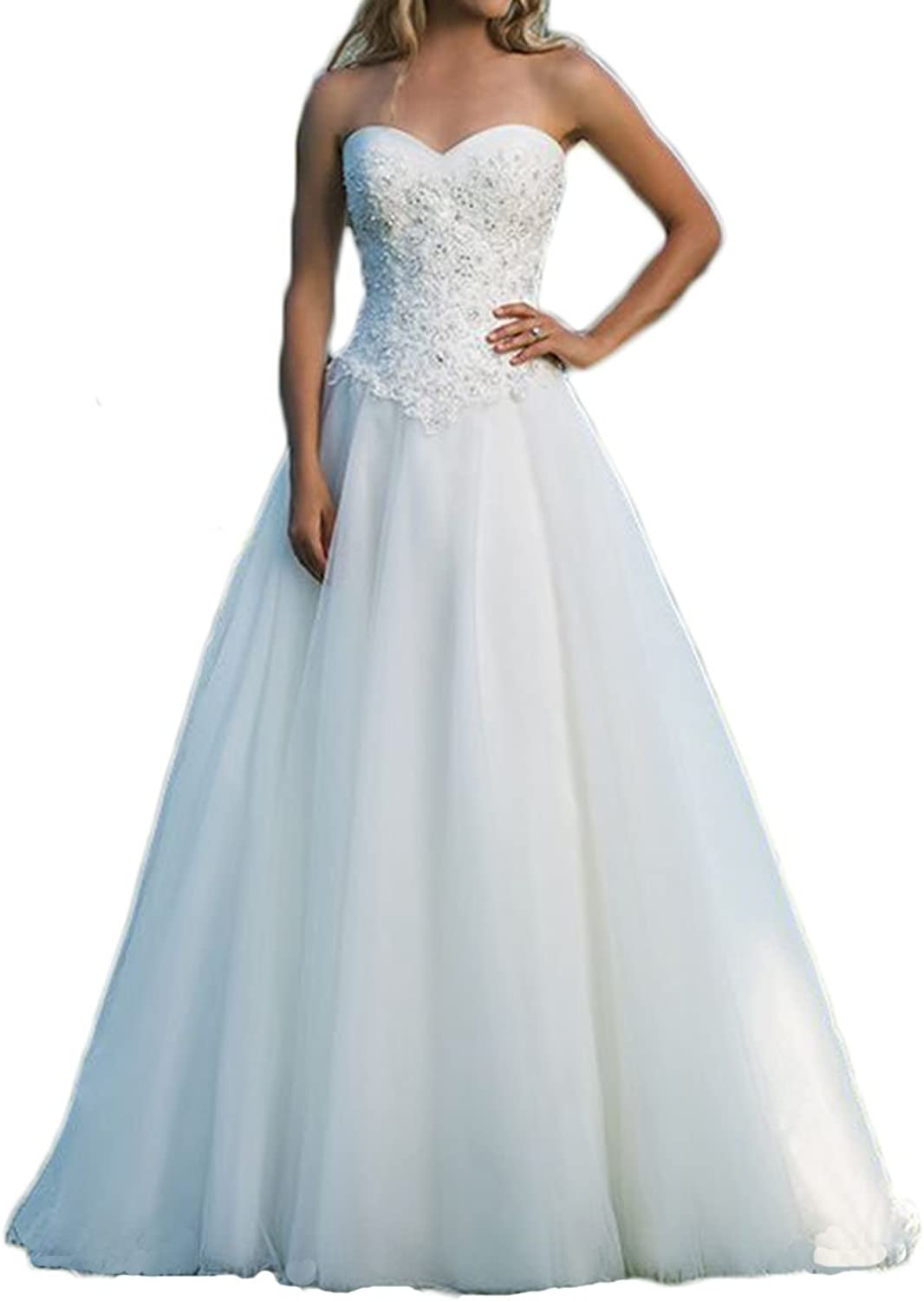 Alilith.Z Gorgeous Beaded Rhinestones Tulle Wedding Dresses Bride Ball Gown Sexy Sweetheart Bridal Gowns 2018 Train