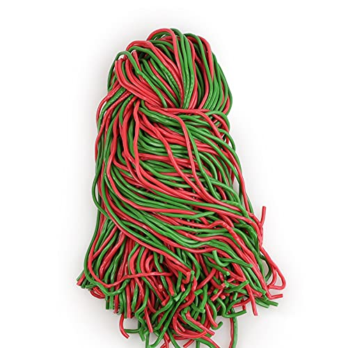 Dee Best Strawberry Apple String Licorice Candy, Extra Long, Soft and Chewy Shoestring Licorice Laces, 32 Oz