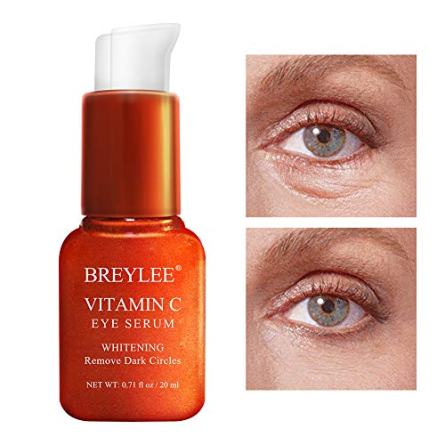 Vitamin C Eye Serum, BREYLEE Whitening Eye Treatment for Dark Circles and Wrinkles Removal Anti Aging Moisturizing Eye Essence for Fine Lines Organic Eye Care with Hyaluronic Acid(20ml,0.71fl Oz)