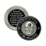Features 3D raised skull with circle triangle headband set in starburst on front Serenity prayer with unique edge design on back Multistage plating with nickel on stamped brass and smooth epoxy dome for a brilliant shine Custom designed in house, han...