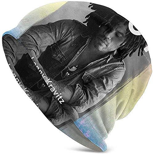 LinUpdate-Store Lenny Kravitz Unisex gebreide muts voor volwassenen met capuchon, casual cap met warme opdruk, zwart
