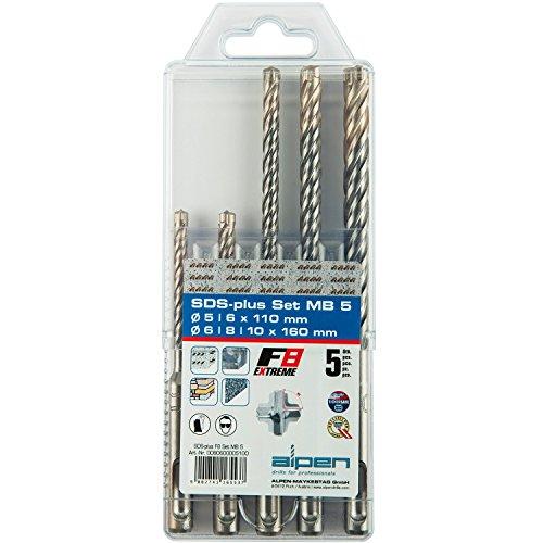 Alpen 80600005100 , SDS Plus Bohrerset 5, 6, 8, 10mm vierschneidig, F8extreme , für Stahlbeton, Mauerwerk, Stein