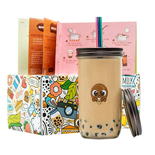 BobaGO Reusable Boba Cup with Straw, Bubble Tea Cup with Recipe Book, Reusable Boba Cups with Lids, Boba Tumbler, Boba Tea Cup and Boba Jar, Bubble Tea Gift Set with Cup 17 ounce