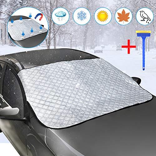 DEKINMAX Frontscheibenabdeckung Auto Scheibenabdeckung Faltbar Sonnenschutz Windschutzscheibenabdeckung Magnetische UV-Schutz Abdeckung für SUVs, LKWs, PKW, KFZ