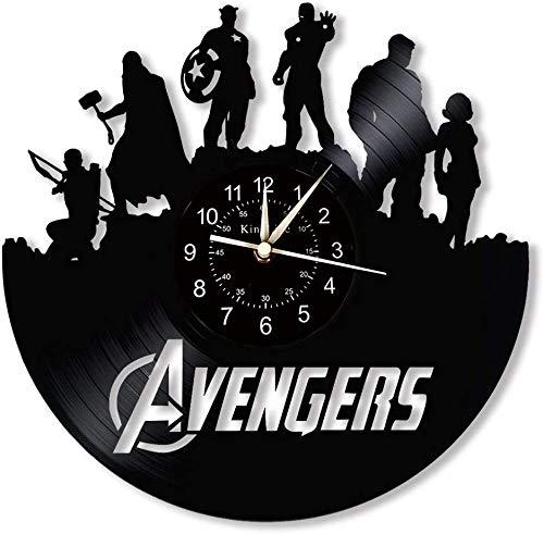 YHMJ Wall Clock 12-Zoll-Schallplatte Wanduhr, Retro handgemachte Aufnahme Marvel Heroes Silent Uhren für Wohnzimmer Schlafzimmer Home Decor,Durchschn. 1-1
