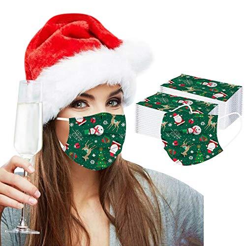 YAUzeun Erwachsene Einweg Mundschutz Multifunktionstuch, 3-lagig Modische Weihnachtsdruck Ohrschlaufe Maske,Weiche Staubdicht Atmungsaktive Vlies Mund-Nasenschutz Bandana Halstuch