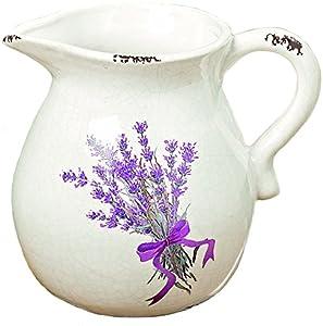Arredamento, decorazione - brocca, caraffa, vaso decorativo multiuso - stile: shabby chic, rustico - materiale: porcellana - colore: bianco e viola - dim. ca H 18 cm - 2150 ml
