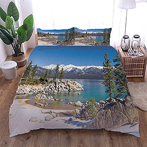 YYZCM Duvet Cover with 2 Pillowcases 3D Printed Mountain Bedding Set with Zipper Closure Unique Design Anti-allergic Double Duvet Cover Set Single,Single size 140x200cm/55x78.5 inches