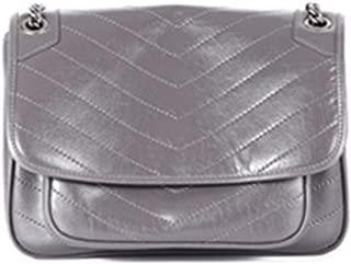 Fashion New Trend Casual Fashion Bills Shoulder Slung Small Leather Handbag (Color : Gray)
