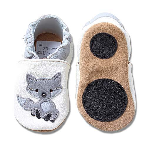 HOBEA-Germany Baby Lauflernschuhe Tiermotiv mit Anti-Rutsch-Sohle, Kinder Hausschuhe Mädchen & Jungen, Lederschuhe Baby (26/27 (30-36 Mon), Wolf)