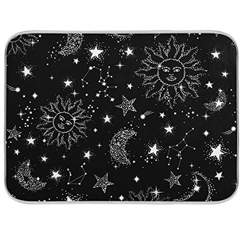 Oarencol Boho Sun Moon Star Galaxy Stuoia Asciugapiatti Boemia Nero Grande Contatore Cucina Reversibile Microfibra Stuoia Scolapiatti 40 x 60 cm