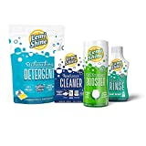 Lemi Shine Complete Dishwasher 4-Pc. Cleaning Bundle - 12 oz Booster Dishwasher Detergent Additive, Dry Rinse, 15 ct. Dishwasher Pods and 3-pk Multi-Purpose Machine Cleaner