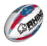 Rhino Ballon de Rugby Unisexe Super League - Blanc/Bleu - Taille 5